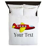Personalizable Red and Yellow Airplane Queen Duvet