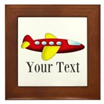 Personalizable Red and Yellow Airplane Framed Tile