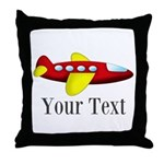 Personalizable Red and Yellow Airplane Throw Pillo