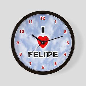 I Love Felipe (Red/Blk) Valentine Wall Clock