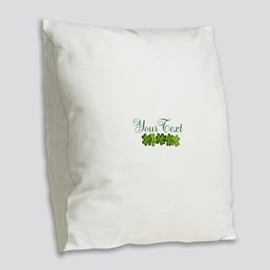 Personalizable Shamrocks Burlap Throw Pillow