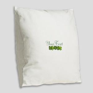 Personalizable Shamrocks Burlap Throw Pillow