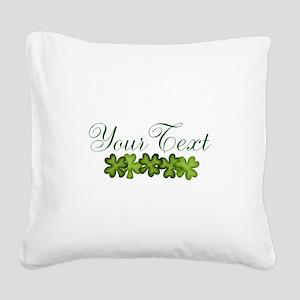 Personalizable Shamrocks Square Canvas Pillow