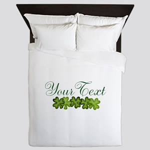 Personalizable Shamrocks Queen Duvet