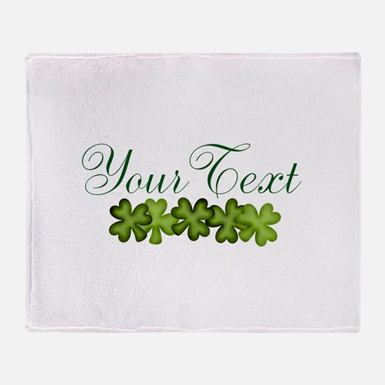 Personalizable Shamrocks Throw Blanket