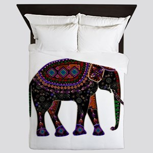 Tribal Metallic Elephant Queen Duvet