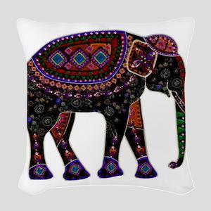 Tribal Metallic Elephant Woven Throw Pillow