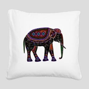 Tribal Metallic Elephant Square Canvas Pillow