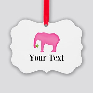 Personalizable Pink Elephant With Clover Ornament