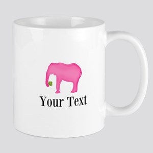 Personalizable Pink Elephant With Clover Mugs