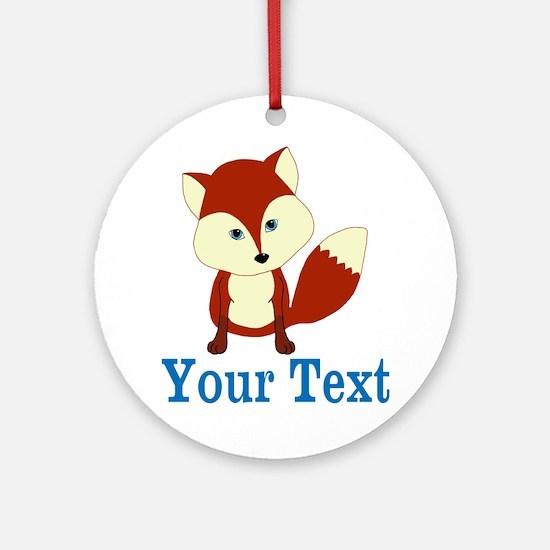 Personalizable Red Fox Round Ornament