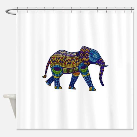 Blue Tribal Metallic Elephant Shower Curtain
