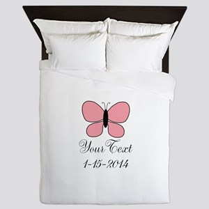 Pink Butterfly Personalizable Queen Duvet