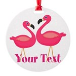 Personalizable Pink Flamingoes Ornament