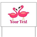 Personalizable Pink Flamingoes Yard Sign