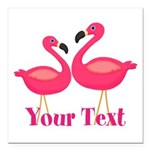 Personalizable Pink Flamingoes Square Car Magnet 3