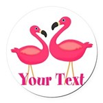 Personalizable Pink Flamingoes Round Car Magnet