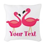 Personalizable Pink Flamingoes Woven Throw Pillow