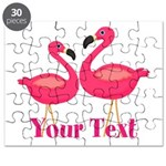 Personalizable Pink Flamingoes Puzzle