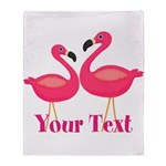 Personalizable Pink Flamingoes Throw Blanket