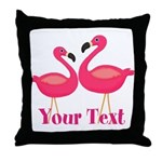 Personalizable Pink Flamingoes Throw Pillow