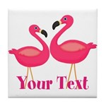 Personalizable Pink Flamingoes Tile Coaster