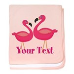Personalizable Pink Flamingoes baby blanket