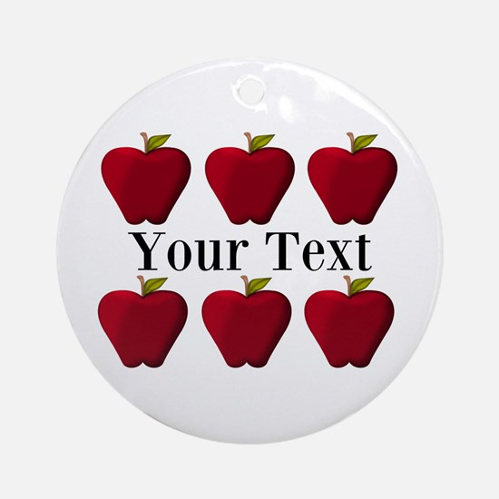 Personalizable Red Apples Round Ornament