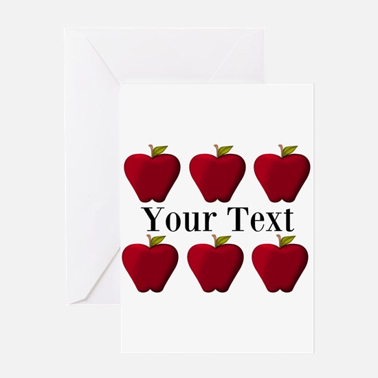 Personalizable Red Apples Greeting Cards