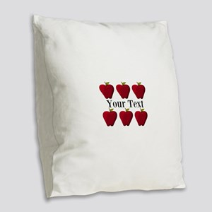 Personalizable Red Apples Burlap Throw Pillow