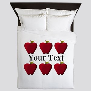 Personalizable Red Apples Queen Duvet