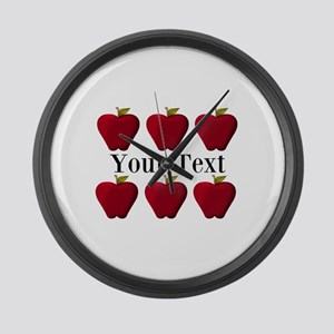 Personalizable Red Apples Large Wall Clock