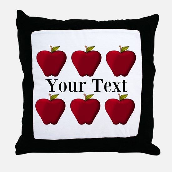 Personalizable Red Apples Throw Pillow