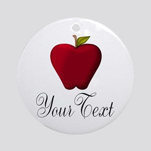 Personalizable Red Apple Round Ornament