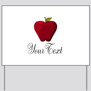 Personalizable Red Apple Yard Sign