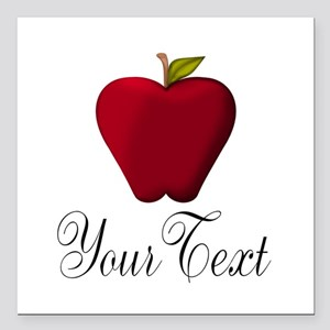 """Personalizable Red Apple Square Car Magnet 3"""" x 3"""""""