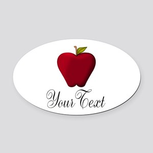 Personalizable Red Apple Oval Car Magnet
