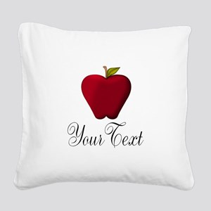 Personalizable Red Apple Square Canvas Pillow