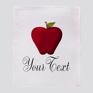 Personalizable Red Apple Throw Blanket
