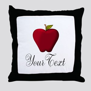 Personalizable Red Apple Throw Pillow