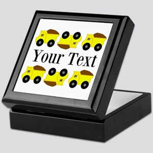 Personalizable Yellow Trucks Keepsake Box