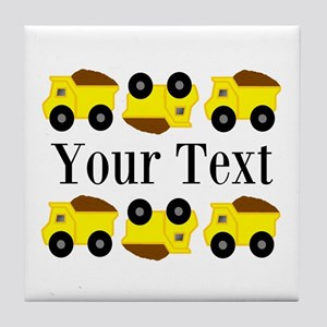 Personalizable Yellow Trucks Tile Coaster