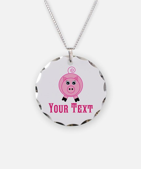 Personalizable Pink Pig Necklace