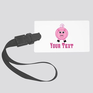 Personalizable Pink Pig Luggage Tag