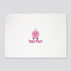 Personalizable Pink Pig 5'x7'Area Rug