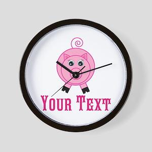 Personalizable Pink Pig Wall Clock