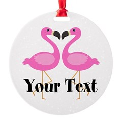 Personalizable Pink Flamingos Ornament