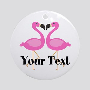 Personalizable Pink Flamingos Round Ornament