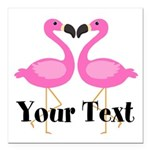 Personalizable Pink Flamingos Square Car Magnet 3