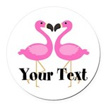 Personalizable Pink Flamingos Round Car Magnet
